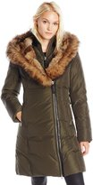 Mackage Women's Trish Mid Length Down Coat with Fur Trim Hood