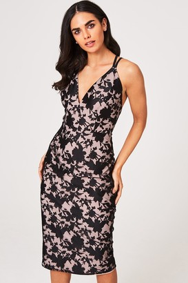 Little Mistress Elly Floral Organza Midi Bodycon Dress