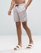 Asos Swim Shorts In Stone Mid Length