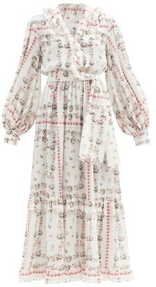 Etro Chlio Frill-trim Floral-print Silk-satin Dress - White Multi