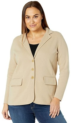 Lauren Ralph Lauren Plus Size Sweater Knit Blazer (Birch Tan) Women's Dress
