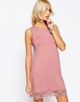 Asos Sleeveless Swing Dress With Lace Hem