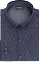 Kenneth Cole Reaction Men's Slim-Fit Techni-Cole 3 Way Flex Blue Print Dress Shirt