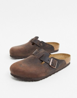 Birkenstock Boston mules in habana oiled leather-Brown