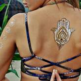 Flash Tattoos YOGALUST Authentic Metallic Temporary Tattoos 3 Sheet Pack (Black/gold/silver) Includes over 29 Premium Waterproof Tattoos