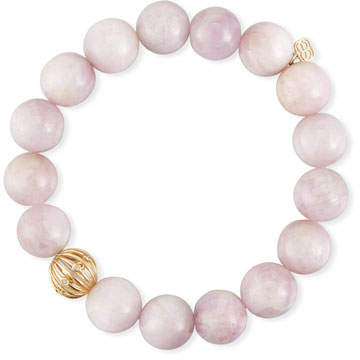 Sydney Evan 10mm Kunzite Beaded Bracelet with Diamond Bezel Ball