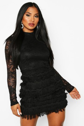 boohoo Lace Fringe High Neck Mini Dress
