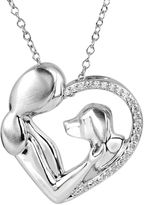 JCPenney FINE JEWELRY ASPCA Tender Voices [ CT. T.W. Diamond Woman & Dog Heart Pendant Necklace