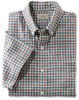 L.L. Bean Easy-Care Chambray Shirt, Traditional Fit Short-Sleeve Plaid