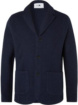 NN07 Darren Navy Unstructured Boiled Wool Blazer