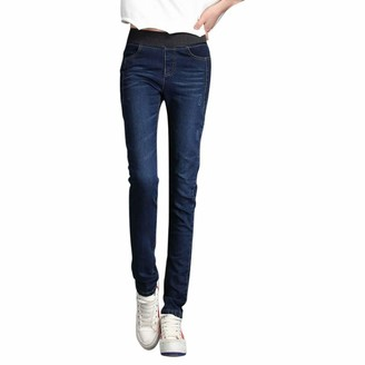 jieGorge Pants for Women Fashion Loose High Waist Casual Jeans Elastic Waist Pencil Pants Plus Size