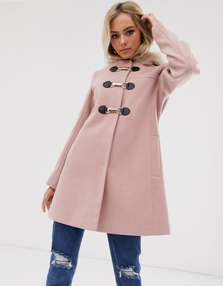 Asos Design DESIGN duffle with swing skirt and metal work coat in pink