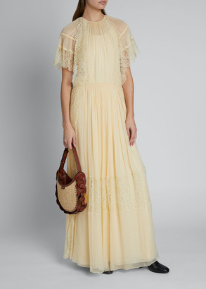 Chloé Lace-Detailed Chiffon Dress