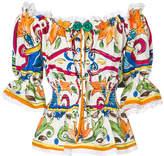 Dolce & Gabbana Majolica off the shoulder blouse