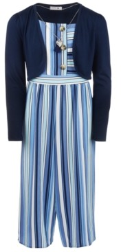 Beautees Big Girls 3-Pc. Shrug, Striped Jumpsuit & Necklace Set