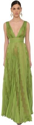 ZUHAIR MURAD Long V Neck Pleated Chiffon & Lace Dress