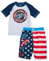 Trunks Captain America Boys 4-7 Rash Guard Swim Shirt and Swim Set