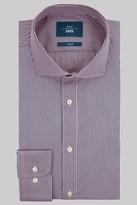 Moss Bros Slim Fit Pink and Blue Single Cuff Stripe Shirt