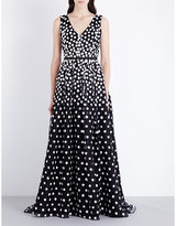 Oscar de la Renta Daisy print silk gown