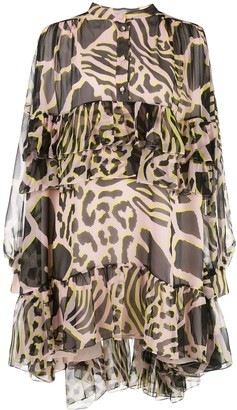 Adam Lippes Animal Print Ruffled Dress