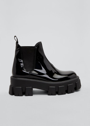 Prada Patent Lugged-Sole Chelsea Booties