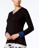 Alfani Colorblock Contrast-Cuff Pajama Top, Created for Macy's