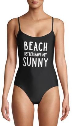 No Boundaries Juniors' Beach Sunny One-Piece Swimsuit