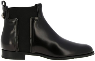 Tod's Flat Booties Ankle Boots In Brushed Leather With Elastic T-shaped Bands