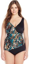 Maxine Of Hollywood Women's Plus-Size Island Vibe Surplus One Piece Swimsuit