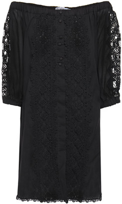 Charo Ruiz Ibiza Off-the-shoulder Crocheted Lace-paneled Cotton-blend Voile Mini Dress