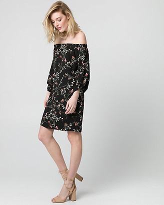 Le Château Floral Crepe de Chine Off-the-Shoulder Dress