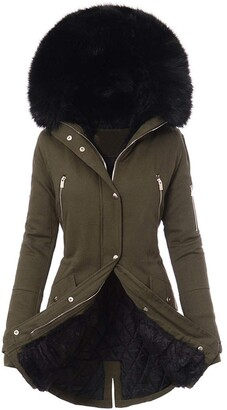 Momtop Windproof Parka Coat for Women Mid-length Jacket with Hooded for Elegant Lady Fur or Faux Fur Zip Pockets Drawstring belt Softshell Outerwear Trench Winter Overcoat