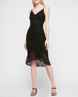 Express Lace Cami Midi Flounce Dress