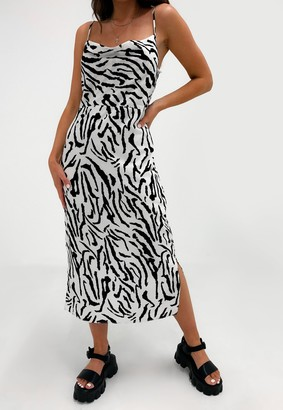 Missguided White Zebra Print Cami Cowl Neck Midi Dress