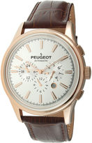 Peugeot Mens White Dial Brown Leather Strap Automatic Watch