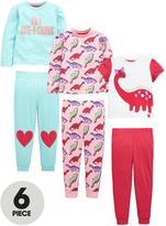 Mini V by Very Toddler Girls Pretty Dino Pyjamas (6 Piece)