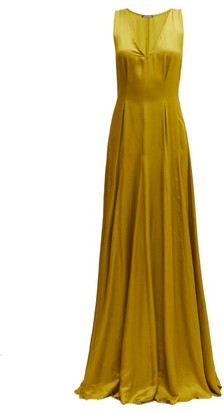 Ann Demeulemeester Nanette V-neck Faille Maxi Dress - Dark Yellow