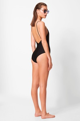 French Connection Mesh V Neck Swimsuit