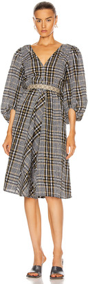 Ganni Seersucker Check Dress in Kalamata | FWRD