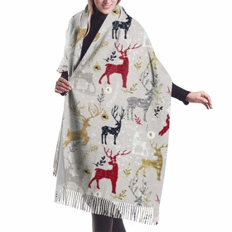 Asekngvo Deer'S Mania Shawl Wrap Winter Warm Scarf Cape Large Soft Cozy Cashmere Scarf Wrap Womans Warm Shawl Stole