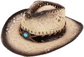 Simplicity Child's Costume Party Cowboy Cowgirl Straw Hat with Blue Stone Brown