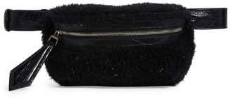 Max Mara Leather-Trimmed Shearling Belt Bag