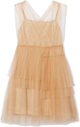 BURBERRY KIDS Tiered Tulle Midi Dress