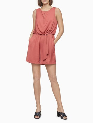 Calvin Klein Solid Keyhole Front Knot Romper