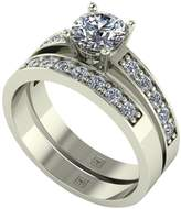 Moissanite Premier Collection 9ct Gold 1.20ct Total Eq Round Brilliant Centre Bridal Set
