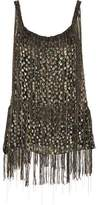 Elie Tahari Jacobia Fringed Metallic Flocked Chiffon Top