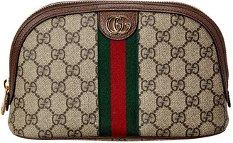 Gucci Ophidia Large Gg Supreme Canvas & Leather Cosmetic Case
