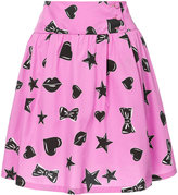 Moschino heart and star print skater skirt - women - Silk/Cotton - 40