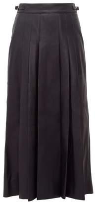 Gabriela Hearst Wesley Pleated Leather Midi Skirt - Womens - Navy