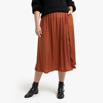 La Redoute Collections Plus Full Midi Skirt with Buttons